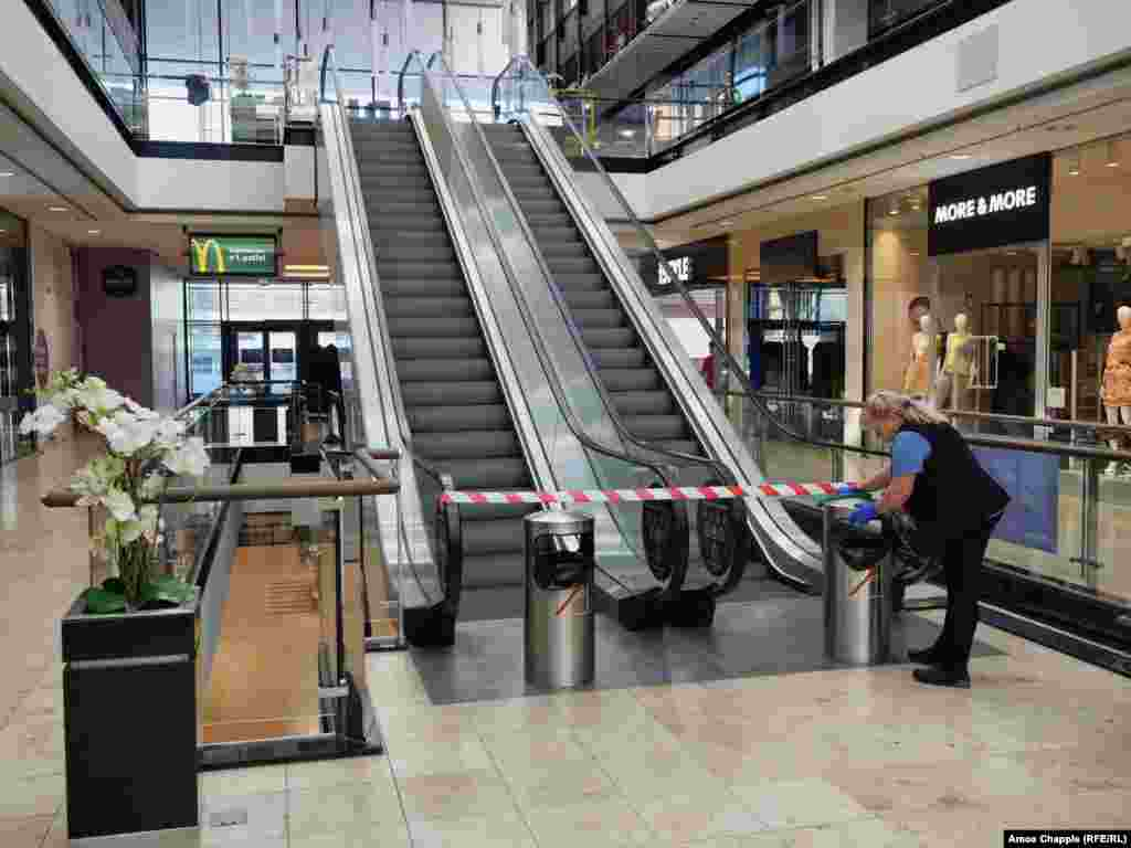 Taped-off escalators that lead to a food court in Pankrac after restaurants were required to shut down for ten days on March 14.As of March 14, there were 150 reported cases of coronavirus in the Czech Republic.