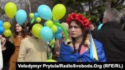 Митинг к 200-летию со дня рождения украинского поэта Тараса Шевченко в Симферополе, 9 марта 2014 года