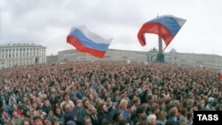 A rally in Leningrad, now St. Petersburg, during the attempted coup.