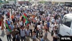 Акция протеста после наводнения в Сабирабадском районе, 24 июня 2010