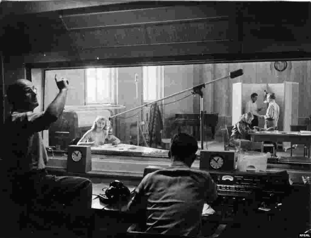 A broadcast from the first RFE studio in Munich, where RFE began broadcasting in May 1951.