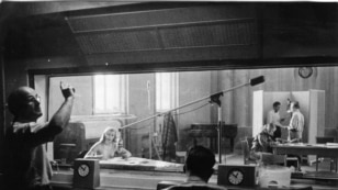 Germany -- A broadcast from the first Radio Free Europe studio in Munich. RFE began broadcasting from Munich in May 1951.