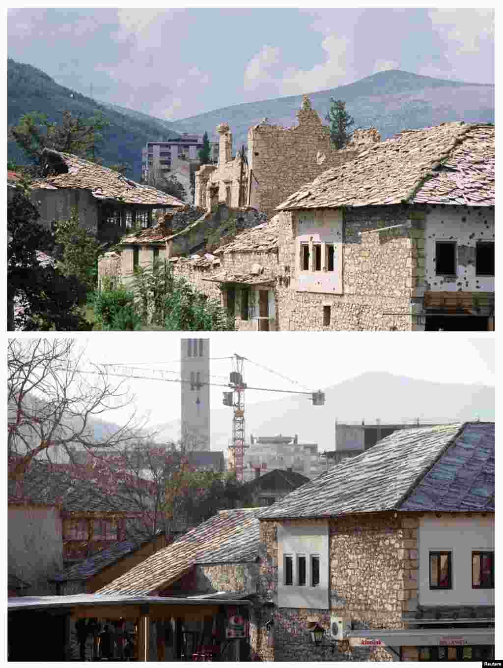 Damaged buildings in the old part of Mostar in June 1993, and below that the same location on February 23, 2013.