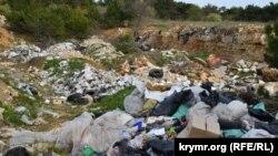 Для бытового мусора вырыт целый котлован