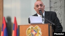 Armenia - Karabakh war veteran Suren Sargsian addresses a rally in Yerevan.