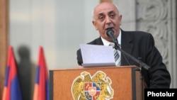 Armenia - Karabakh war veteran Suren Sargsian addresses a rally in Yerevan.