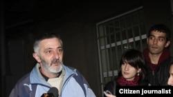 Opposition activist Gabriel Gabrielian is interviewed on his release from prison on December 6.