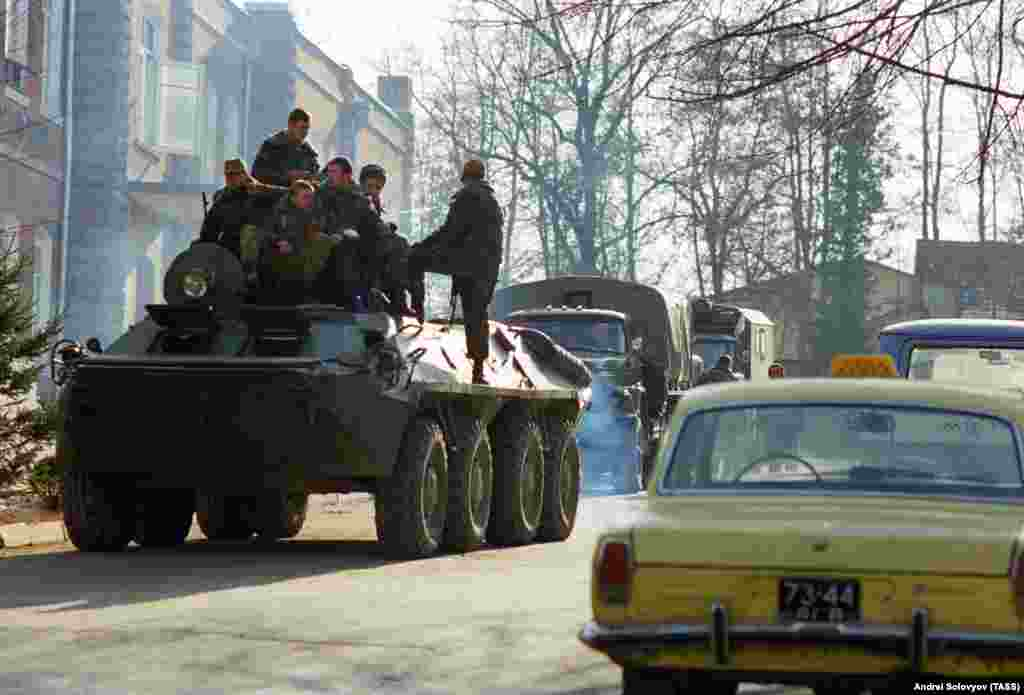 A Soviet military vehicle seen on the streets of Baku on January 23.