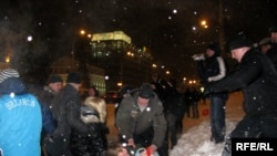 Demonstrators being arrested at St. Valentine's Day rally in Minsk.