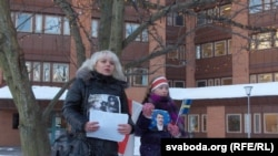 Volha Klaskouskaya (left) claims she was beaten and harrassed by Belarusian police.