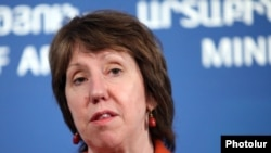 Armenia - EU High Representative for Foreign Affairs and Security Policy Catherine Ashton at a news conference in Yerevan, 17Nov2011.