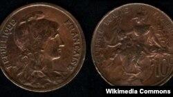 سکه فرانسوی که بر روی آن شعار رسمی جمهوری فرانسه٬ «آزادی٬ برابری٬ برادری»٬ حک شده است.