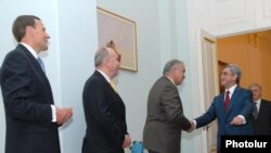 Armenia -- President Serzh Sarkisian (R) meets the visiting co-chairs of the OSCE Minsk Group on Nagorno-Karabakh, 29 March 2010.