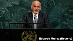 Afghan President Ashraf Ghani addressed the 72nd United Nations General Assembly at U.N. Headquarters in New York on September 19.