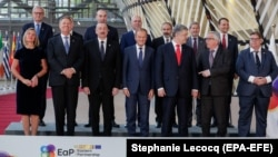 BELGIUM -- Participants pose for the photograph during the 10th EU-Eastern Partnership council meeting, in Brussels, May 13, 2019