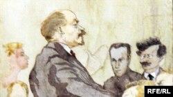 Ю.К. Арцыбушев. Наброски портретов революционных лидеров. 1917 год