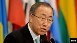 U.S.-- United Nations Secretary General Ban Ki-moon talks to reporters about his recent trip to the Middle East and the ongoing hostilities between Israel and Hamas at United Nations headquarters in New York, New York, USA, 28 July 2014.