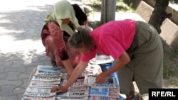 Як растаи рӯзномафурӯшии Душанбе