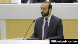 Russia Armenian parliament speaker Ararat Mirzoyan speaks in the Russian Federation Council , Moscow, February 27, 2019.