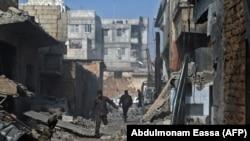 Prizor iz sirijskog grada Mesraba koji kontroliraju pobunjenici