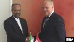 دیدار محمد نهاوندیان، رئیس دفتر روحانی با یوهان اشنایدر آمان رئیس جمهوری سوییس