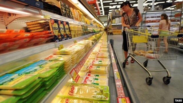 Russia - A food supermarket in Novosibirsk, 7Aug2014.