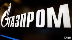 Russia -- Gazprom logo is seen at the Petersburg International Gas Forum in St. Petersburg, October 6, 2015