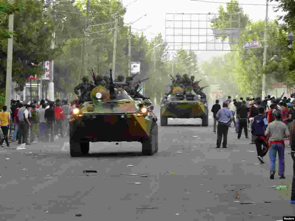 Armored vehicles in downtown Osh on June 11, after the interim government declared a state of emergency.