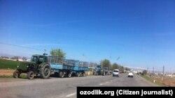 """Qashqadaryoning Yakkabog' tumanida yo'l chetida go'ng ortilgan traktorlar """"prezident kelishini kutmoqda"""""""