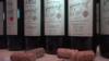 Бутилки с грузинско вино на изложение в Тбилиси
