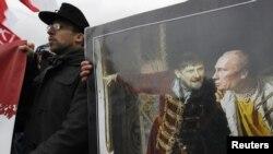 """Оьрсийчоь -- """"Оьрсийн маршан"""" декъашхоша айина хьуш ду Путинан а, Кадыровн а диллина сурт тIехь долу у Москох Оьрсийчоьнан Цхьааллин дийнахь, 04Лахь2012"""