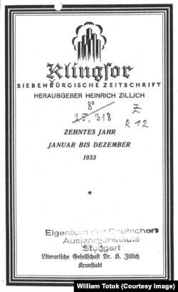 Coperta revistei Klingsor (1933)