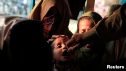 A polio worker administers polio vaccine to a girl. (file photo)