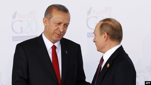"""Эрдоган и Путин на саммите """"Большой двадцатки"""" в Анталье, 15 ноября 2015 года"""