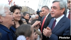 Armenia - President Serzh Sarkisian (R) meets with voters in Yerevan's Malatia-Sebastia district, 12Apr2011.