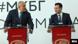 Bulgarian Prime Minister Boyko Borisov (left) and Macedonian counterpart Zoran Zaev speak to the press in Skopje in November.