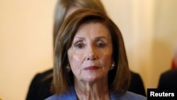 "House Speaker Nancy Pelosi said the proposed cuts would have been ""harmful to our national security."" (file photo)"