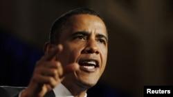 Președintele Barack Obama în cursul unei reuniuni electorale democrate