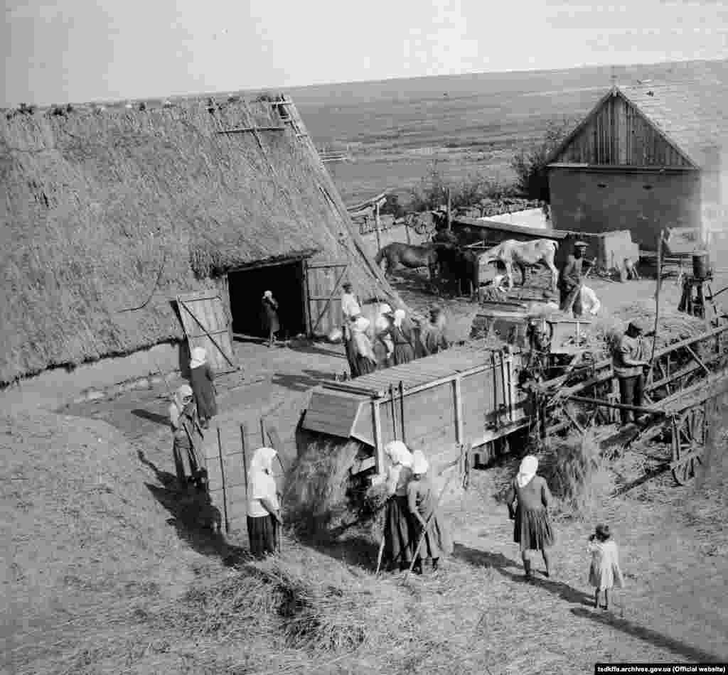 Обмолот зернових у дворі куркуля Пантелеймона Емна в селі Удачне Гришинського району Донецької області, 1920-і