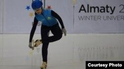 Шорт-трекистка Ким Йонг А, выступающая под флагом Казахстана.