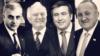 Грузия президенттері (солдан оңға қарай): Звиад Гамсахурдия, Эдуард Шеварднадзе, Михаил Саакашвили, Георгий Маргвелашвили.