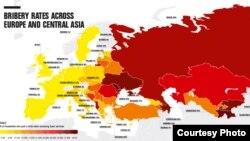Transparency International ұйымының Еуропа мен Орталық Азиядағы коррупцияны қабылдау деңгейі көрсеткіші жайлы карта.