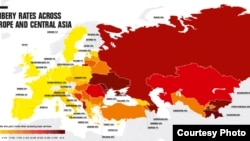 A Transparency International map of bribery rates in Europe and Central Asia, 16Nov2016