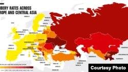 Мапа на Транспаренси интернешнал за стапките за поткуп во Европа и Централна Азија. 16.11.2016