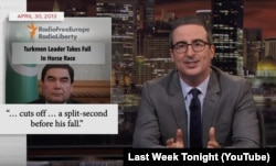 John Oliver repeatedly cited RFE/RL reporting in his Berdymukhammedov segment.