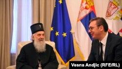Predsednik Srbije Aleksandar Vučić i poglavar SPC patrijarh Irinej na sastanku u Beogradu