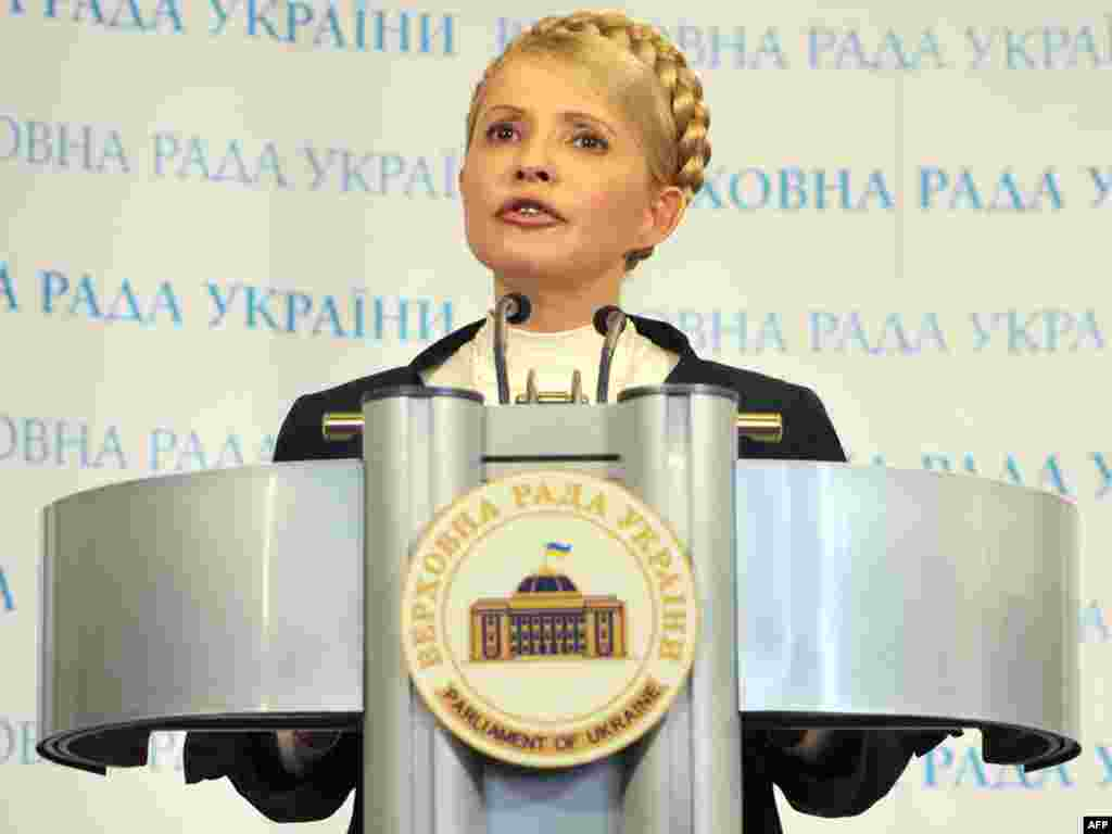 Yulia Tymoshenko, as a leader of the political opposition, speaks with journalists at the parliament building in Kyiv in May 2010.