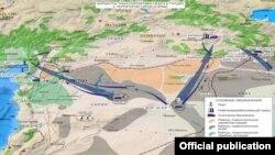 نقشه منتشرشده از سوی وزارت دفاع روسیه در مورد مسیرهای غیرقانونی نفت که روسیه ترکیه را متهم به استفاده از آن میکند