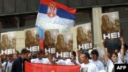 Pamje gjatë një proteste të mëparshme kundër NATO-s në Beograd