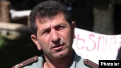 Armenia -- Retired Colonel Volodya Avetisyan, holds a sit-in protest in Yerevan's Liberty Square in June 2013.